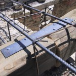 steel and concrete reinforcement on roof
