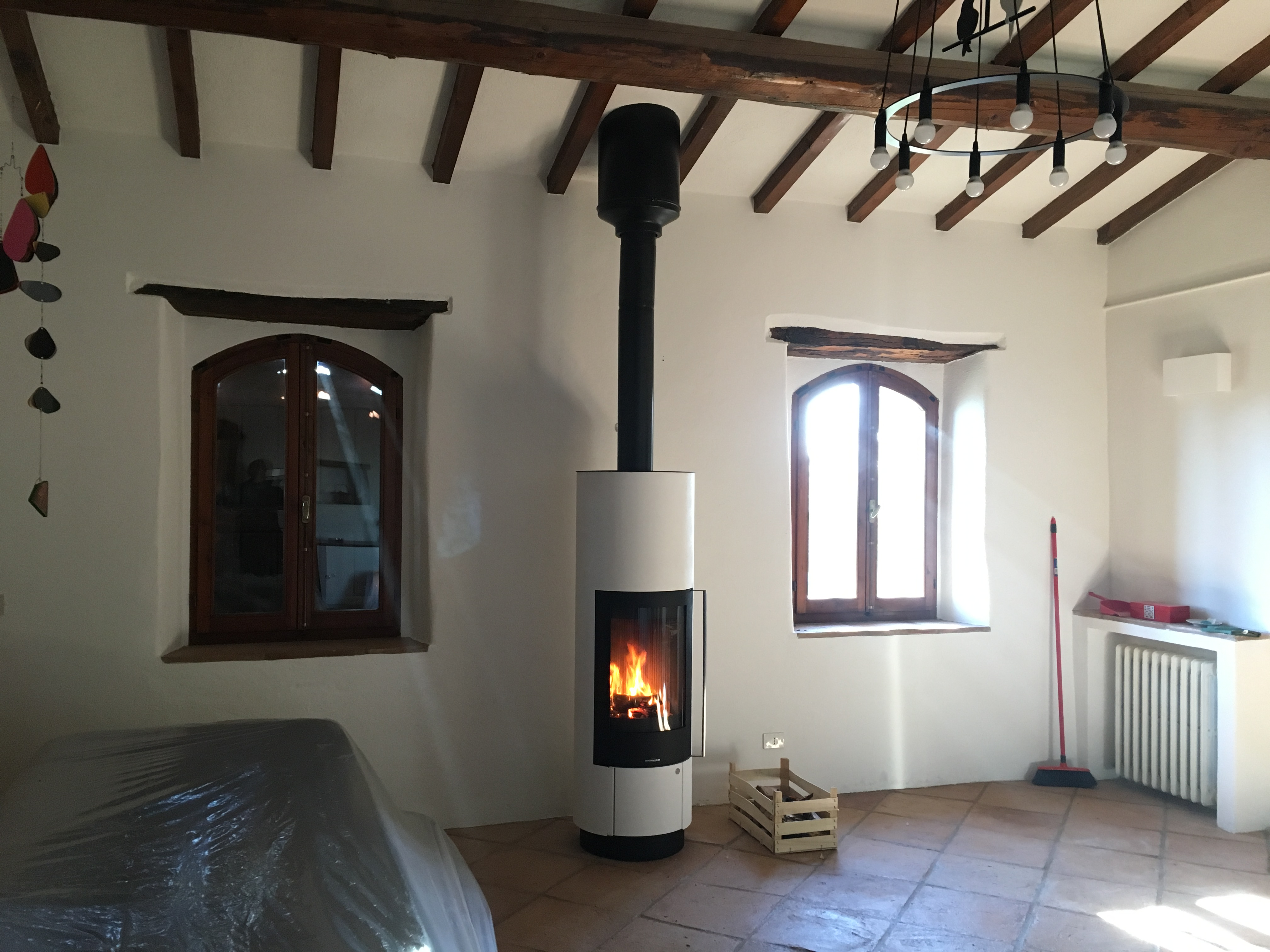 Wood Burning Stove In Restored Farmhouse In Umbria